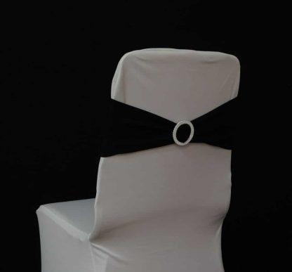 Rhinestone buckle chair bands - black