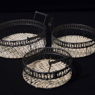 Wire and Woven Rattan Tray