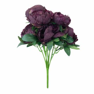 Artificial Peony Flowers - 9 Head Burgandy 1