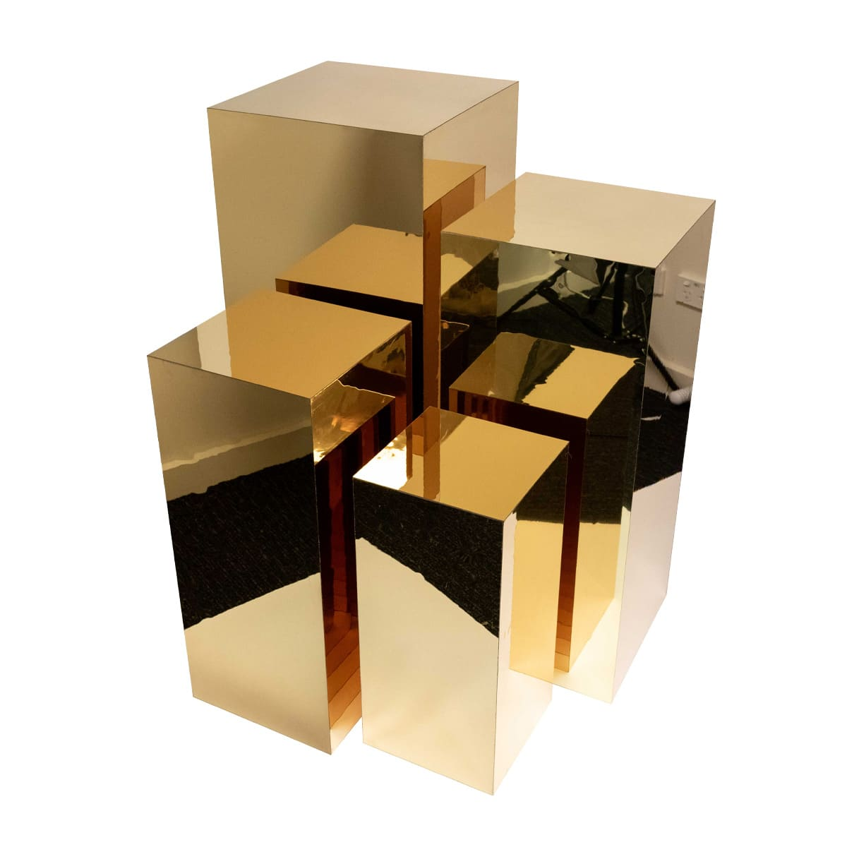 Acrylic Gold Plinth Set Amazing Clear Display Stands